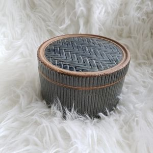 Other - Blue Glazed Ceramic Weave Textured Box with Lid